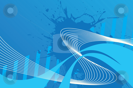 Wavy Wires Layout stock photo, An abstract blue design with plenty of copyspace. This image makes a great background. by Todd Arena