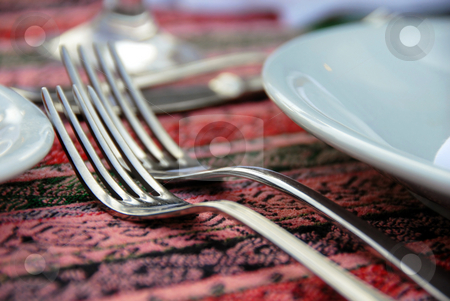 Two forks stock photo, Two forks served on dinner table closeup by Julija Sapic