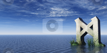 Rune  stock photo, Viking rune rock at the ocean - 3d illustration by J?