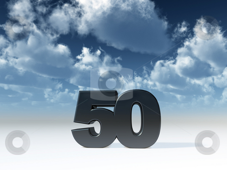 Fifty stock photo, The number fifty in front of blue sky - 3d illustration by J?
