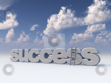 Success stock photo, The word success and a ladder under blue cloudy sky - 3d illustration by J?