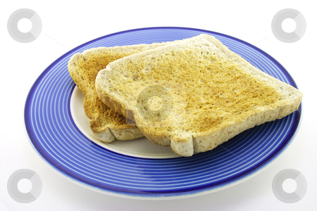 Toast on a Plate stock photo, Slices of lightly browned toast on a blue plate with a white background by Keith Wilson