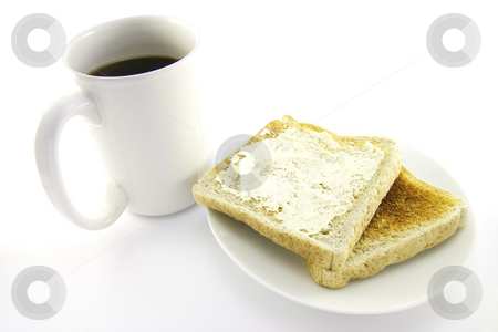 Toast on a White Plate with Coffee stock photo, Crunchy lightly browned toast on a round white plate with a cup of black coffee on a white background by Keith Wilson