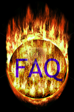 Maze Ball with FAQ stock photo, Burning Labyrinth Sphere with frequently asked questions letters. E.g. as button... by Reinhart Eo