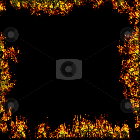 Burning border stock photo, Flames of fire with twists on black background by Reinhart Eo