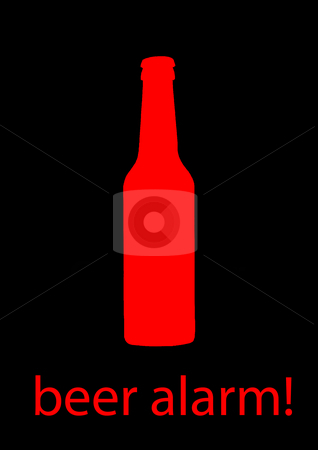 Beer Alarm! stock photo, Red beer bottle with