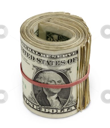 Rolled Dollars stock photo, Wad of one dollar bills rolled and held in place by a red rubber band by James Barber