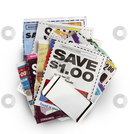 Coupon savings stock photo, Savings coupons held together by silver money clip by James Barber
