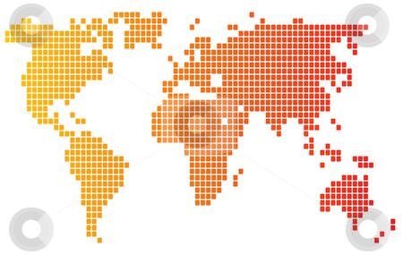 Mosaic world map stock photo, Map of the world illustration, mosaic block style by Kheng Guan Toh