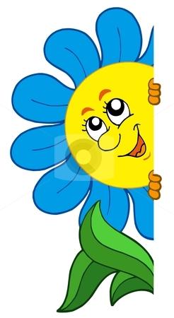 Lurking cartoon flower stock vector clipart, Lurking cartoon flower - vector illustration. by Klara Viskova