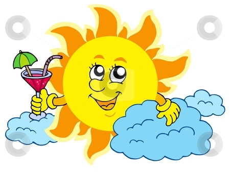 Sun with drink stock vector clipart, Sun with drink - vector illustration. by Klara Viskova