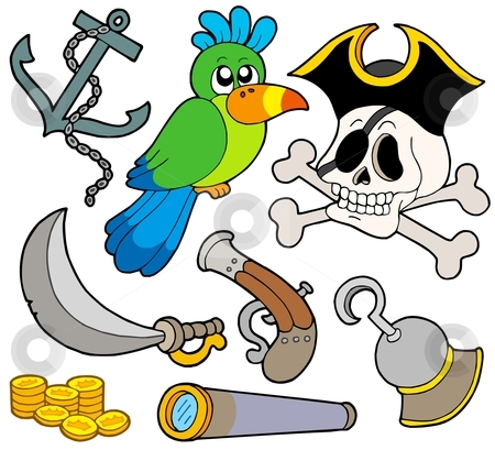 Pirate collection 9 stock vector clipart, Pirate collection 9 on white background - vector illustration. by Klara Viskova