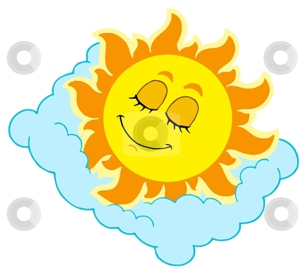 Sleeping Sun on cloudy pillow stock vector clipart, Sleeping Sun on cloudy pillow - vector illustration. by Klara Viskova