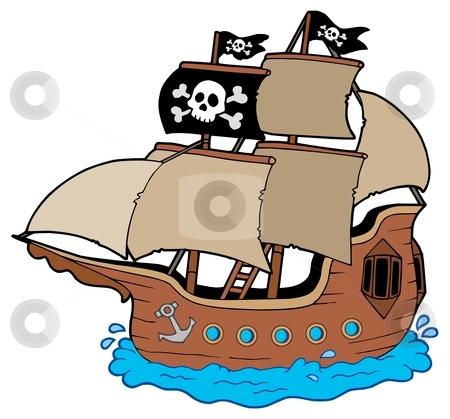 Pirate ship stock vector clipart, Pirate ship on white background - vector illustration. by Klara Viskova