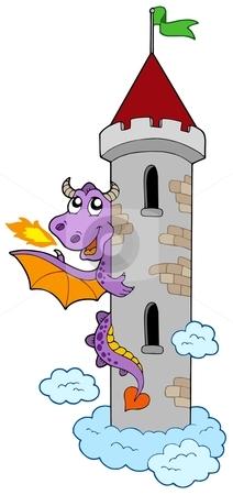 Lurking dragon with castle tower stock vector clipart, Lurking dragon with castle tower - vector illustration. by Klara Viskova