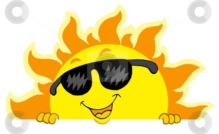 Cute lurking Sun with sunglasses stock vector clipart, Cute lurking Sun with sunglasses - vector illustration. by Klara Viskova