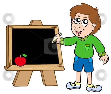 School boy writing on blackboard stock vector clipart, School boy writing on blackboard - vector illustration. by Klara Viskova