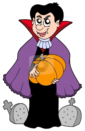 Vampire with pumpkin stock vector clipart, Vampire with pumpkin - vector illustration. by Klara Viskova