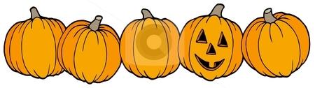 Line of pumpkins stock vector clipart, Line of pumpkins - vector illustration. by Klara Viskova