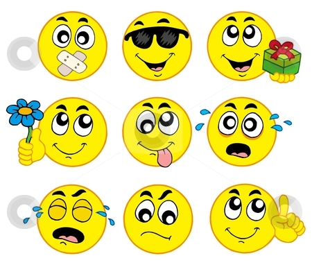 Various smileys 2 stock vector clipart, Various smileys 2 on white background - vector illustration. by Klara Viskova