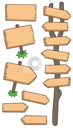 Wooden roadsigns collection stock vector clipart, Wooden roadsigns collection - vector illustration. by Klara Viskova