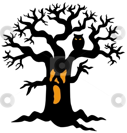 Spooky tree silhouette stock vector clipart, Spooky tree silhouette - vector illustration. by Klara Viskova
