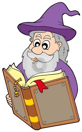 Wizard reading magic book stock vector clipart, Wizard reading magic book - vector illustration. by Klara Viskova