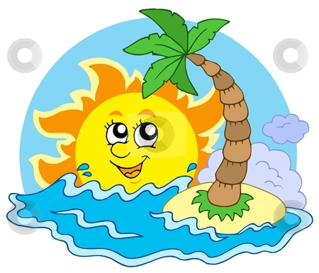 Beach and Sun stock vector clipart, Beach and Sun - vector illustration. by Klara Viskova