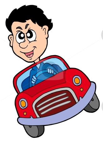 Crazy car driver stock vector clipart, Crazy car driver - vector illustration. by Klara Viskova
