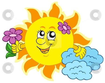 Cute Sun with flower stock vector clipart, Cute Sun with flower - vector illustration. by Klara Viskova
