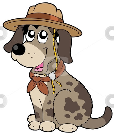 Friendly dog in scout hat stock vector clipart, Friendly dog in scout hat - vector illustration. by Klara Viskova