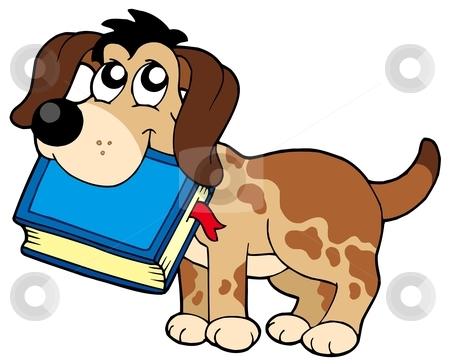 Dog holding book stock vector clipart, Dog holding book - vector illustration. by Klara Viskova