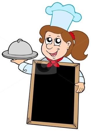 Girl chef with blackboard stock vector clipart, Girl chef with blackboard - vector illustration. by Klara Viskova
