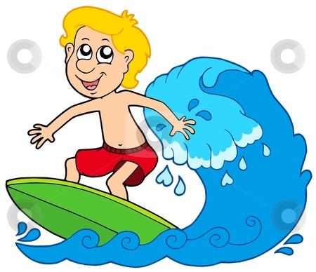 Cartoon surfer boy stock vector clipart, Cartoon surfer boy - vector illustration. by Klara Viskova