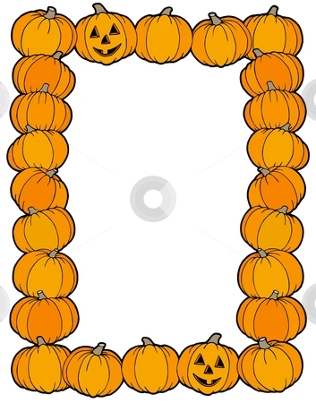 Frame from pumpkins stock vector clipart, Frame from pumpkins - vector illustration. by Klara Viskova
