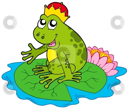 Frog prince on water lily stock vector clipart, Frog prince on water lily - vector illustration. by Klara Viskova