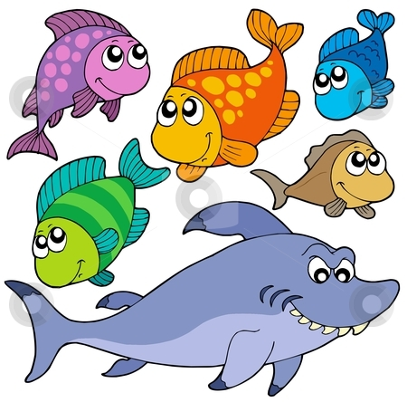 Various cartoon fishes collection stock vector clipart, Various cartoon fishes collection - vector illustration. by Klara Viskova