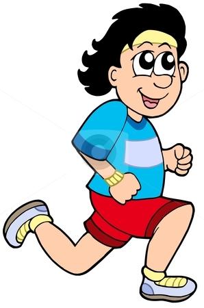 Cartoon running man stock vector clipart, Cartoon running man - vector illustration. by Klara Viskova
