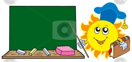 Sun teacher with blackboard stock vector clipart, Sun teacher with blackboard - vector illustration. by Klara Viskova