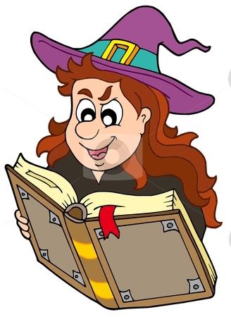 Wizard girl reading magic book stock vector clipart, Wizard girl reading magic book - vector illustration. by Klara Viskova