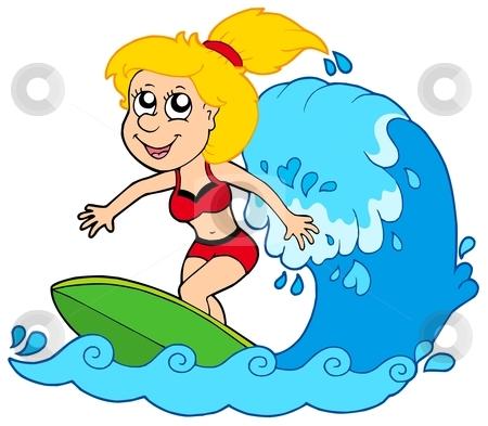 Cartoon surfer girl stock vector clipart, Cartoon surfer girl - vector illustration. by Klara Viskova