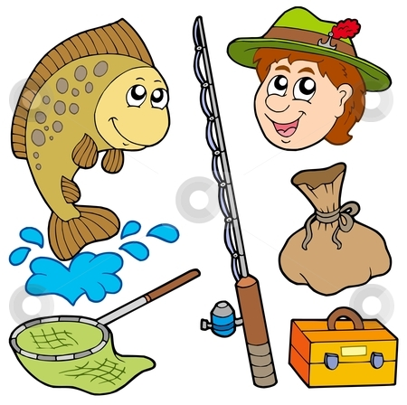 Cartoon fisherman collection stock vector clipart, Cartoon fisherman collection - vector illustration. by Klara Viskova