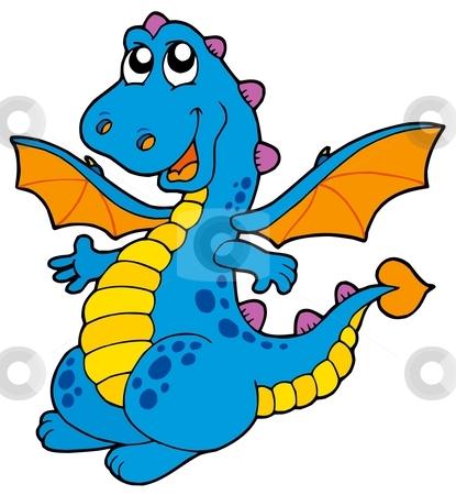 Cute blue dragon stock vector clipart, Cute blue dragon - vector illustration. by Klara Viskova