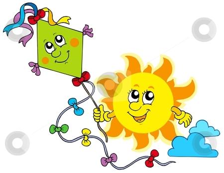 Autumn Sun with kite stock vector clipart, Autumn Sun with kite - vector illustration. by Klara Viskova