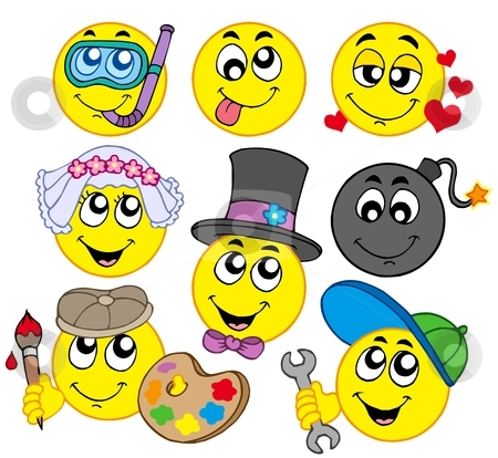 Various smileys 5 stock vector clipart, Various smileys 5 on white background - vector illustration. by Klara Viskova