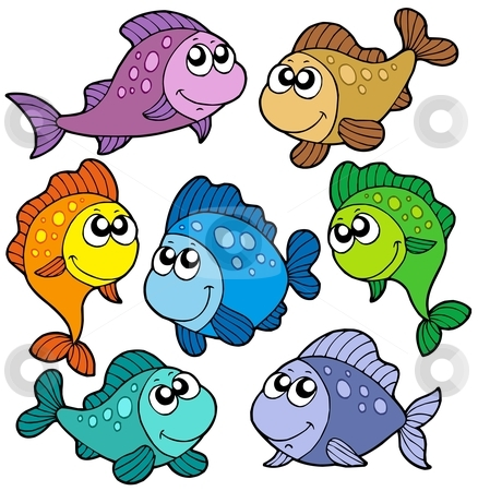 Various cute fishes collection stock vector clipart, Various cute fishes collection - vector illustration. by Klara Viskova