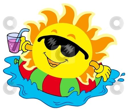 Sun with drink in water stock vector clipart, Sun with drink in water - vector illustration. by Klara Viskova