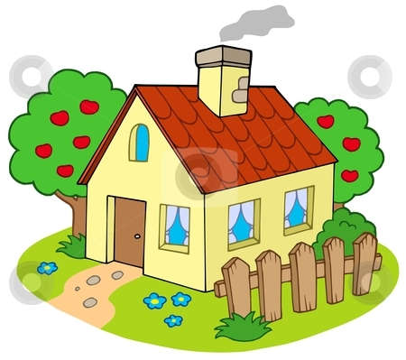 House with garden stock vector clipart, House with garden - vector illustration. by Klara Viskova