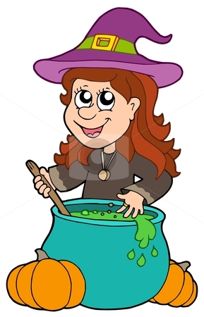 Wizard girl with cauldron stock vector clipart, Wizard girl with cauldron - vector illustration. by Klara Viskova