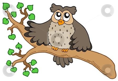 Owl on branch stock vector clipart, Owl on branch - vector illustration. by Klara Viskova